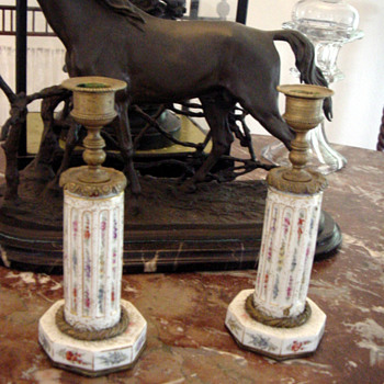 1800's Napolean II Candlesticks Hand Painted Porcelain and Gilt Bronze - Lamps