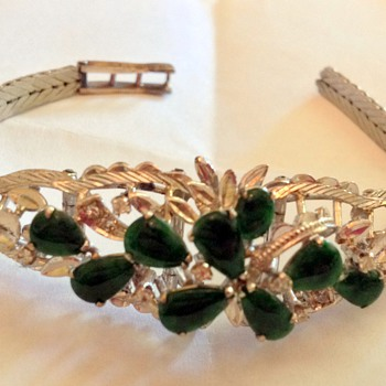 Emerald Green and Silver Bracelet - Costume Jewelry