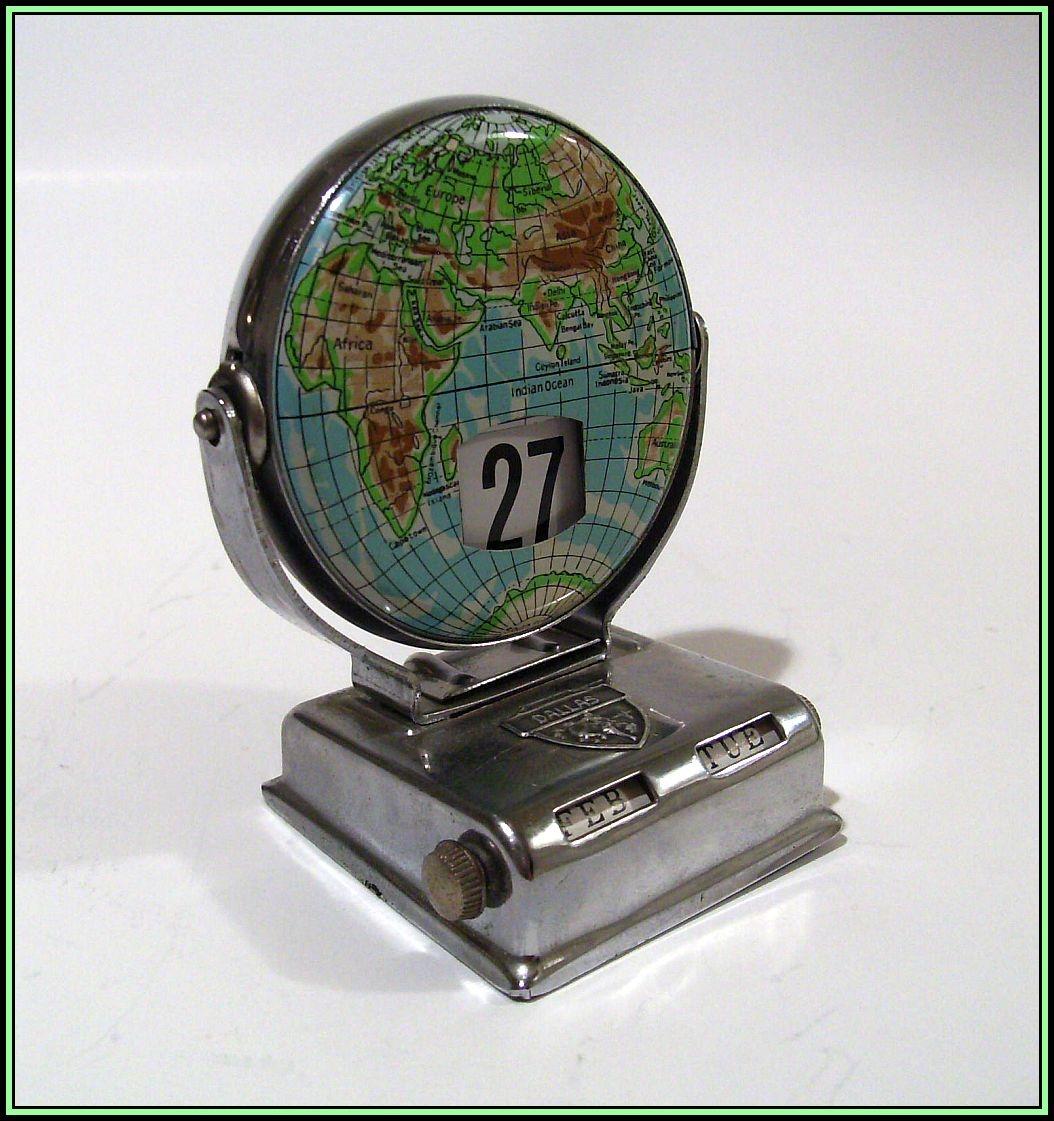 vintage perpetual flip calendar metal map collectors weekly