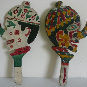 Folk Art Painted Ring Toss Hand Paddles Collection Jim Linderman - Folk Art