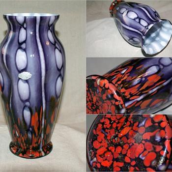 "Franz Welz Bubbles and Spots 12 1/2"" tall Vase - Art Glass"