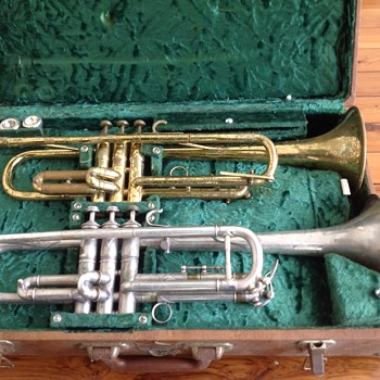 Bouche French silver trumpet1896  Martin jazz trumpet  in double case