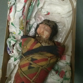 Unique and Odd Antique Indian Doll W/ Carrying handle - Dolls