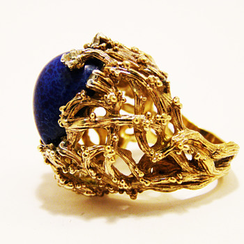 Vintage Panetta Lapis Lazuli Cocktail Ring - Costume Jewelry