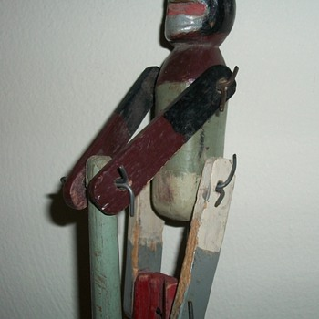 Monkey Climbs a Pole Folk Art Handmade Toy Collection Jim Linderman - Folk Art