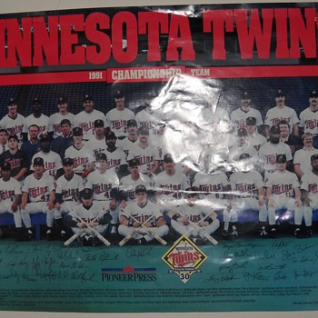 1991 World Series Champion Twins Team Poster, Twins 1987 Wheaties framed box, Warren Spahn auto., and Kirby Puckett Pennant