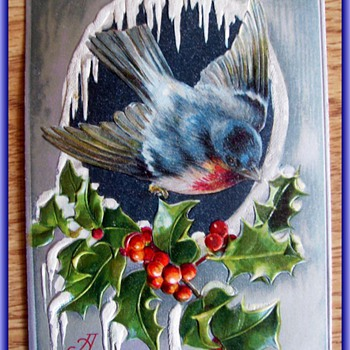 Old Embossed Christmas Card