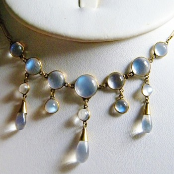 Antique Victorian Moonstone Festoon 9ct Necklace