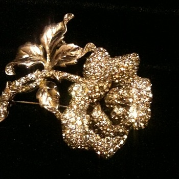 Rhinestone encrusted Flower Pin / Brooch