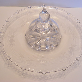 Vintage etched glass tray with center cover