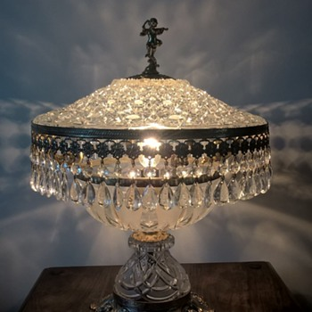 grandmothers cut glass table lamp
