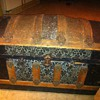 Metal and wood  trunk barrel or round top