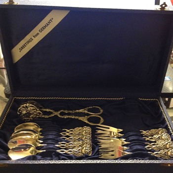 Update ****Vintage   silver plated Spoons and Forks Stamped 90 BOX States  made in Germany marked - Sterling Silver
