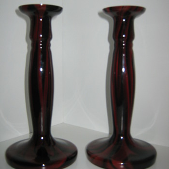Czechoslovakia Glass Candlestick Holders Kralik  - Art Glass