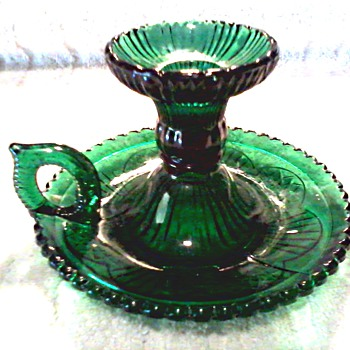 """Zabkowice Pollen"" Emerald Green Pressed Glass Bed Chamber Candlestick /Poland/ Unknown Age - Glassware"