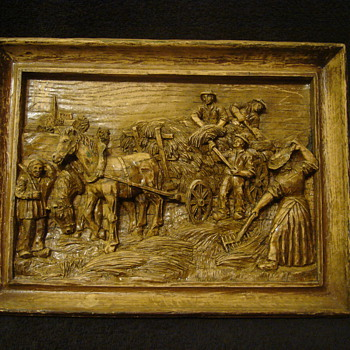 Hand Carved Wood Art Picture - Folk Art