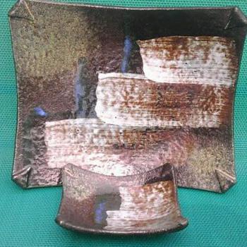 Mid-century Ikebana ceramic nesting plates
