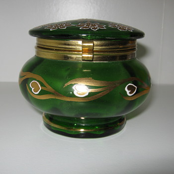 Art Nouveau Gold painted Powder Jar Beautiful Decor - Art Glass