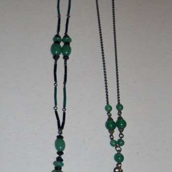 Green Czech glass. - Costume Jewelry