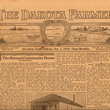 "1919 - ""The Dakota Farmer"" Newspaper - Paper"
