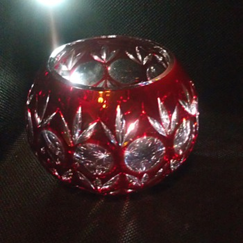 RUBY RED BOHEMIAN ART GLASS CANDLE HOLDER