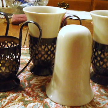 Gorham plated holders, and 4 ceramic coffee cups, who sold these or designed?