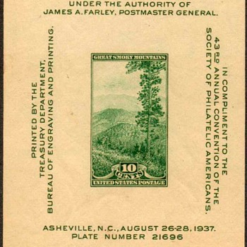 "1937 - ""National Parks"" Souvenir Sheet (US) - Stamps"