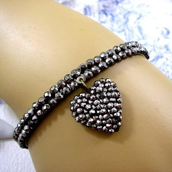 Georgian Cut Steel Heart Bracelet circa 1800 - Fine Jewelry