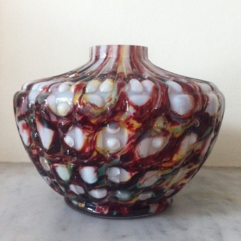 Welz honeycomb vessel with hobnail design ?atomiser base - Art Glass