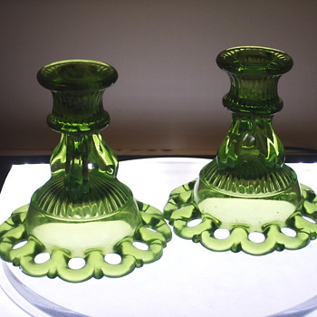 "Green Candle Holder""1940-50"""