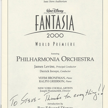 Signed Playbill from Fantasia 2000 World Tour - Paper