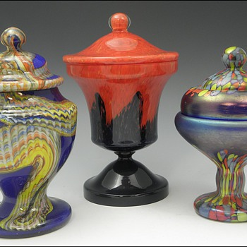 Three More Bohemian Lidded Jars - Art Glass