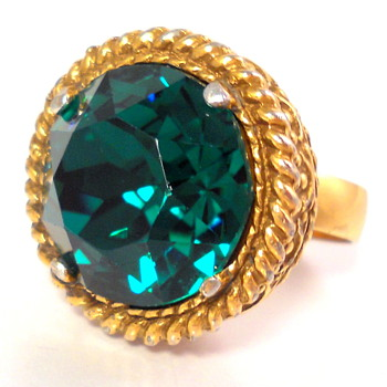 Victorian Adjust Ring with LARGE Green Stone