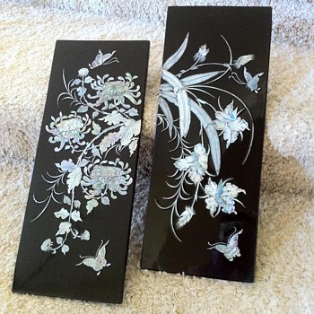 Japanese Black Lacquer MOP Wall Art Panels - Asian