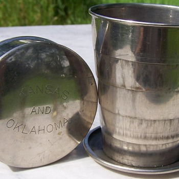 Kansas & Oklahoma Antique Brass Pocket Cup - Advertising