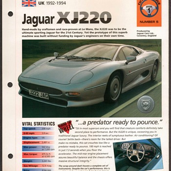 Hot Cars Card - Jaguar XJ220 - Classic Cars
