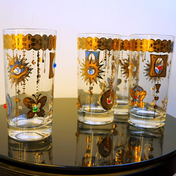 1960s Promotional Novelty Jeweled Glasses Turtle Sun Butterfly Unsigned Culver Barware  - Glassware