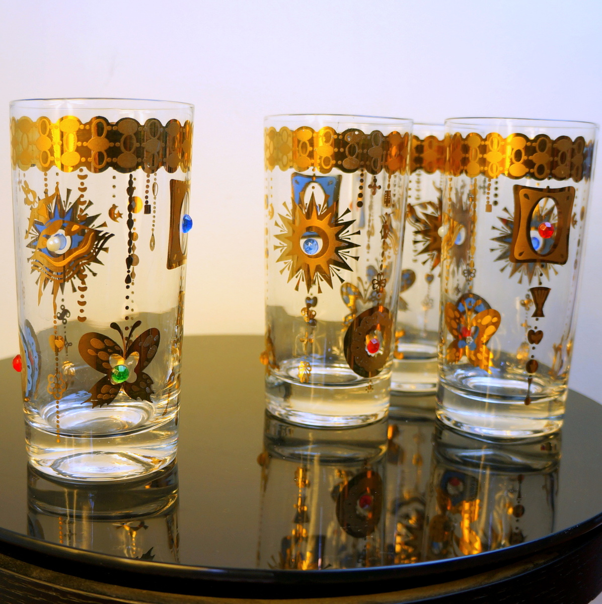 1960s Promotional Novelty Jeweled Glasses Turtle Sun Butterfly Unsigned Culver Barware ...