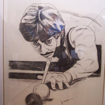 SIGNED ORIGINAL CHARCOAL CARICATURE OF CLIFF THORBURN CANADIAN FORMER SNOOKER WORLD CHAMPION!