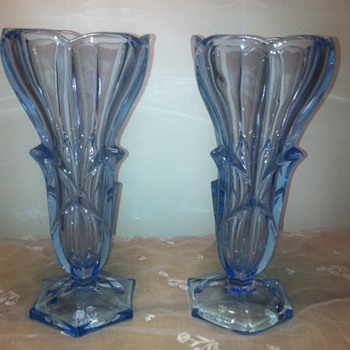 A pair of Vintage Blue Glass Vases  - Art Glass