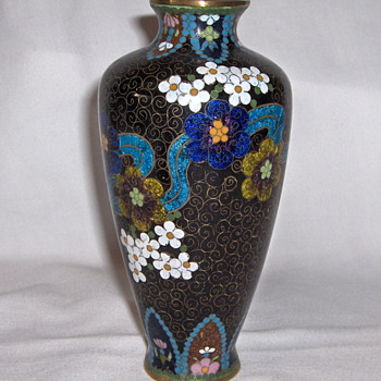 Antique Traditional 1900 Japanese Cloisonne Craft Vase Mixed Wires 6.5 inches