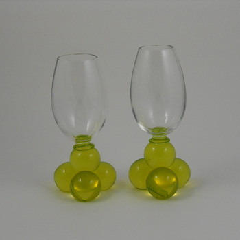 Harrach Vaseline (uranium) Glass Bubble Ball Footed Stems