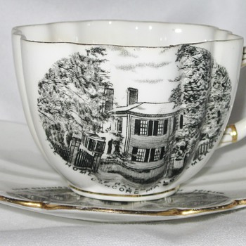 1898 Rare Antique Foley Tea Cup and Saucer, Historic Souvenir