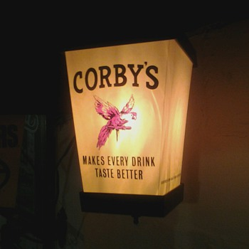 Corby&#039;s Whiskey Sign and Bottle