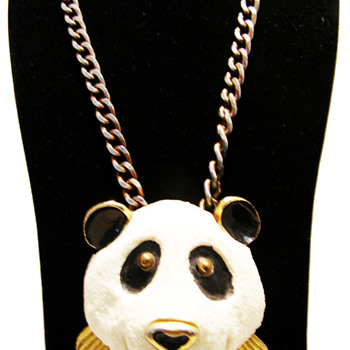 Vintage Razza Large Panda Necklace - Costume Jewelry