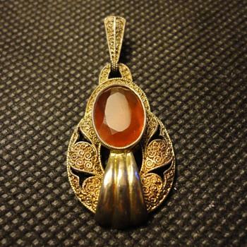 Art Deco Silver Gilt Filigree Carnelian Pendant by Theodor Fahrner - Fine Jewelry