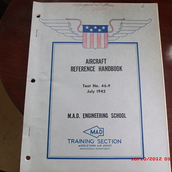 WWII Aircraft Reference Handbook from Middletown Air Depot Civilian Training Program  - Military and Wartime