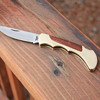 2 CHINESE-Made MID-SIZE LOCKBACK FOLDING KNIVES with FINGER-GROOVED BRASS HANDLE & ROSEWOOD INLAYS