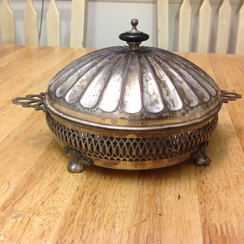 silver candy dish  - Art Deco