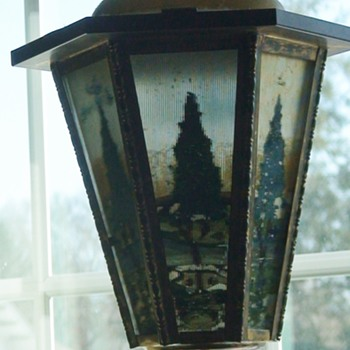 Art Deco Reverse-Painted Hanging Lamp